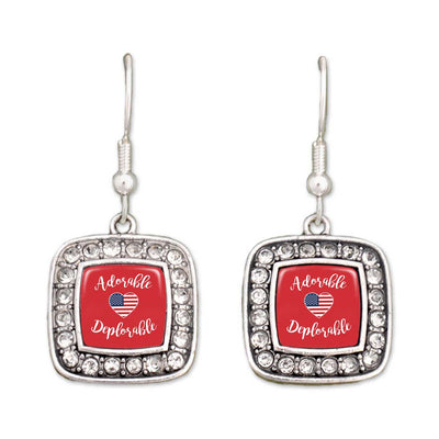Adorable Deplorable Trump Crystal Square Earrings