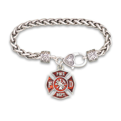 Firefighter Badge Charm Silver Braided Clasp Bracelet