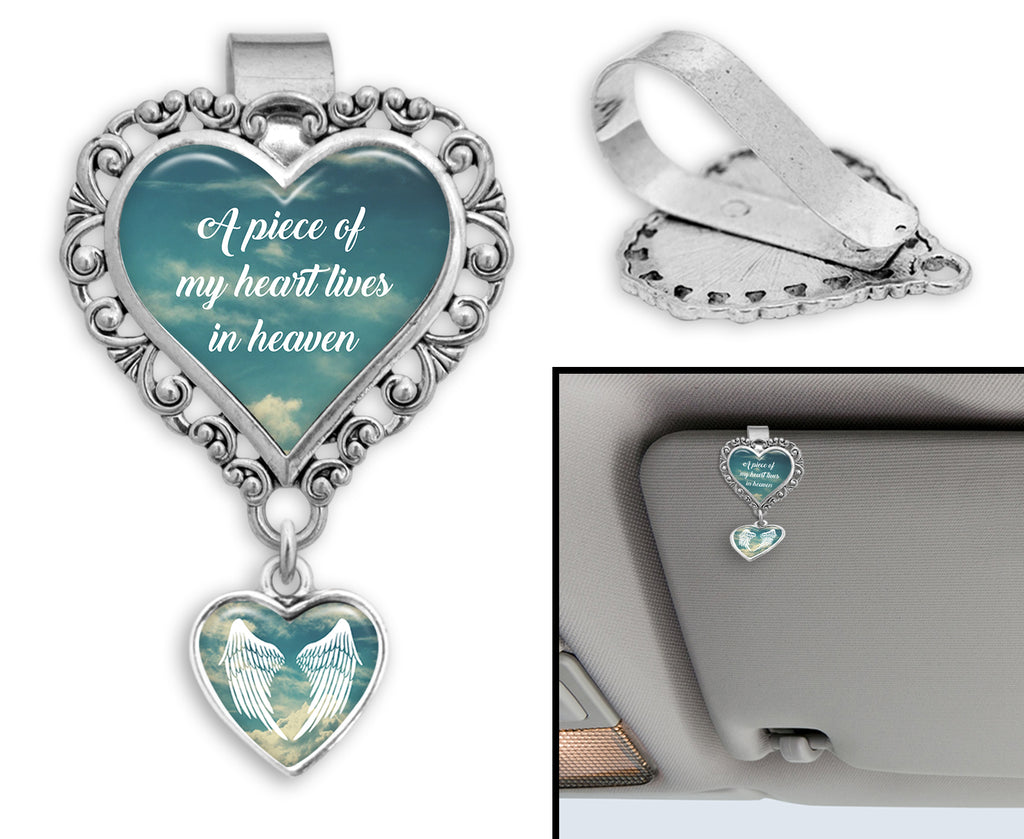 A Piece Of My Heart Lives In Heaven Heart Auto Visor Clip