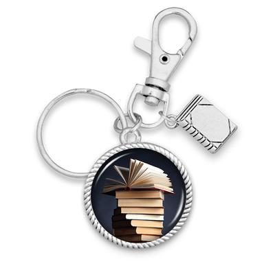 Book Stack Charm Key Chain
