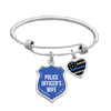 Police Officer's Wife Thin Blue Line Charm Bracelet