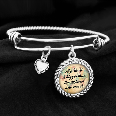 My Heart Is Bigger Than The Distance Between Us Charm Bracelet