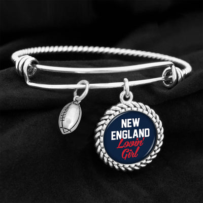New England Lovin' Girl Football Charm Bracelet
