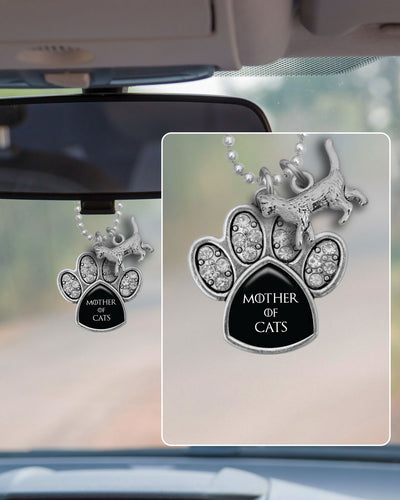 Mother Of Cats Crystal Paw Rearview Mirror Charm