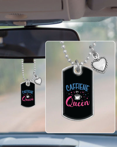 Caffeine Queen Dog Tag Rearview Mirror Charm
