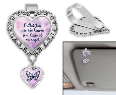 Butterflies Are Heaven Sent Kisses Heart Auto Visor Clip