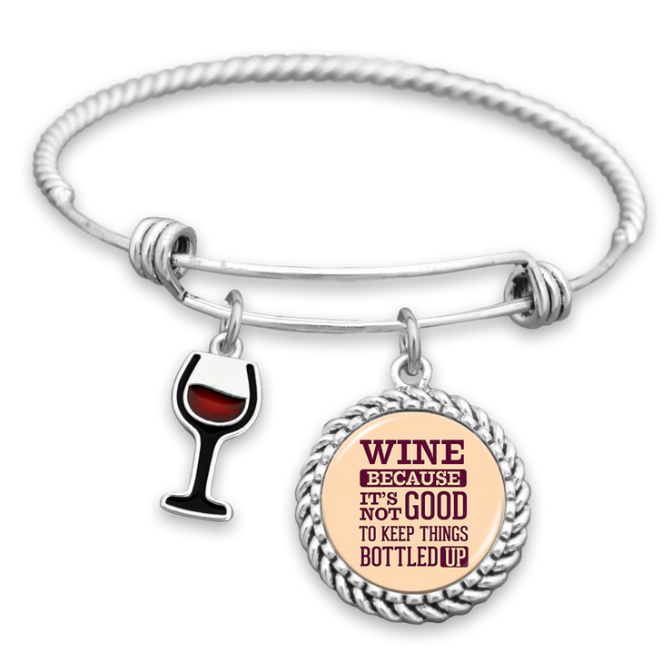 Wine, Because It's Not Good To Keep Things Bottled Up Charm Bracelet