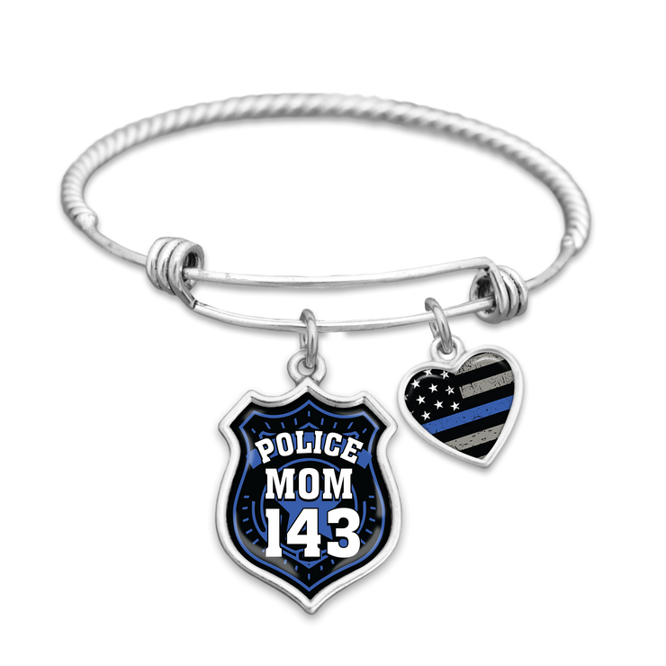 Police Mom Customizable Number Charm Bracelet