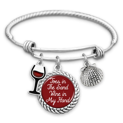 Toes In The Sand, Wine In My Hand Wine Glass & Seashell Charm Bracelet