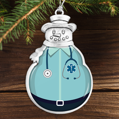 EMT Uniform Snowman Ornament