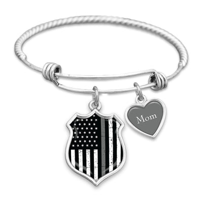Customizable Thin Gray Line Flag Charm Bracelet