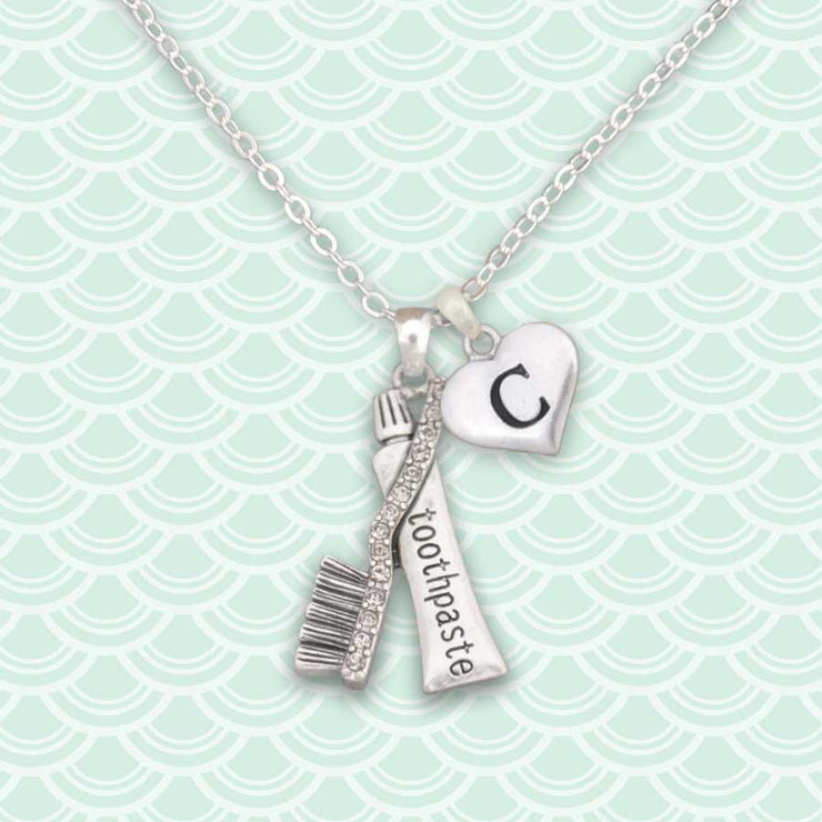 Dental Hygienist Custom Initial Necklace