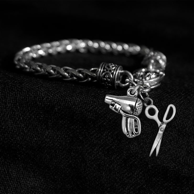 Scissors and Hair Dryer Silver Braided Clasp Charm Bracelet