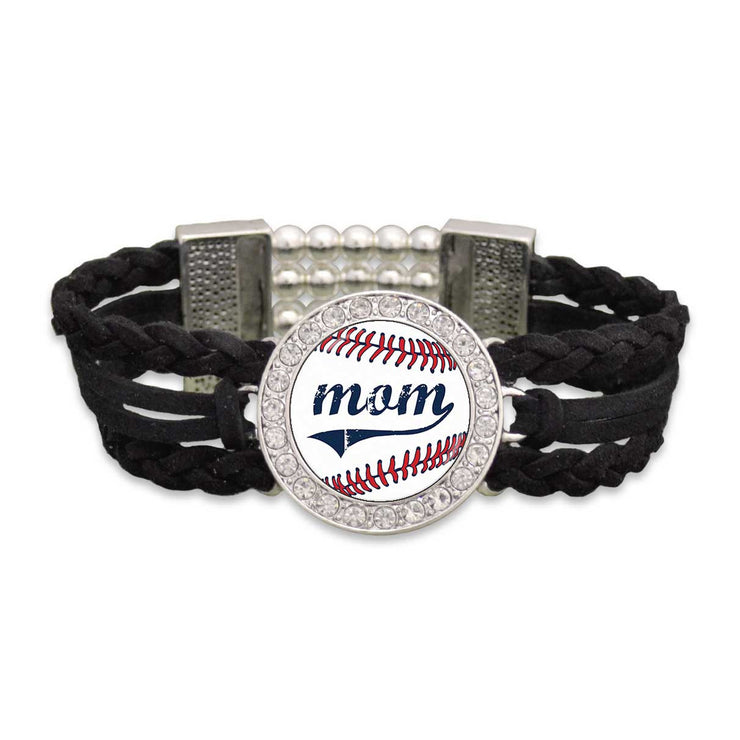 Ballpark Mom Braided Leather Bracelet