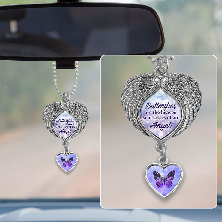 Butterflies Are The Heaven Sent Kisses Of An Angel Purple Wings Rearview Mirror Charm