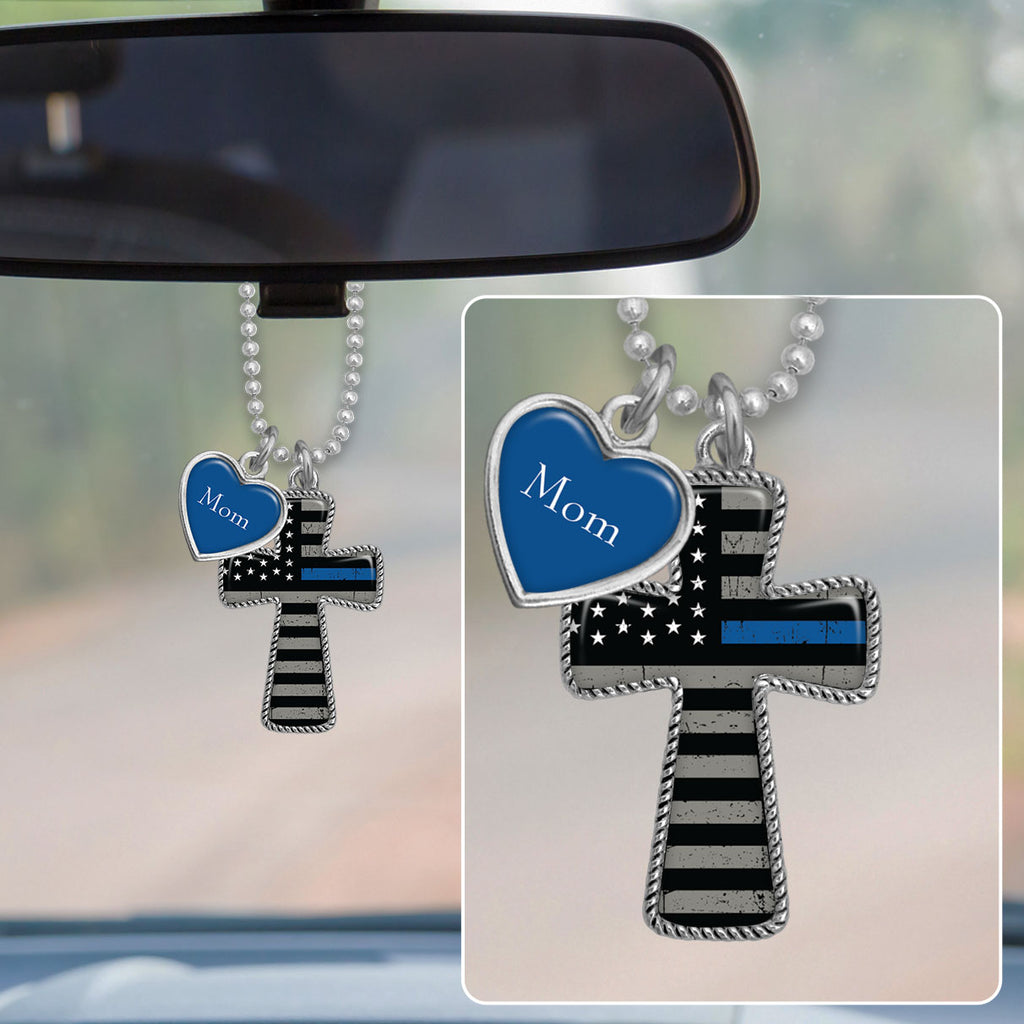 Customizable Thin Blue Line Flag Cross Rearview Mirror Charm