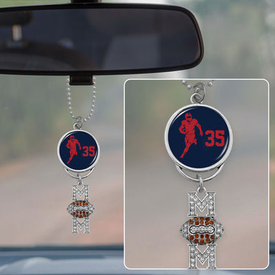 Personalized Football Number Rearview Mirror Charm