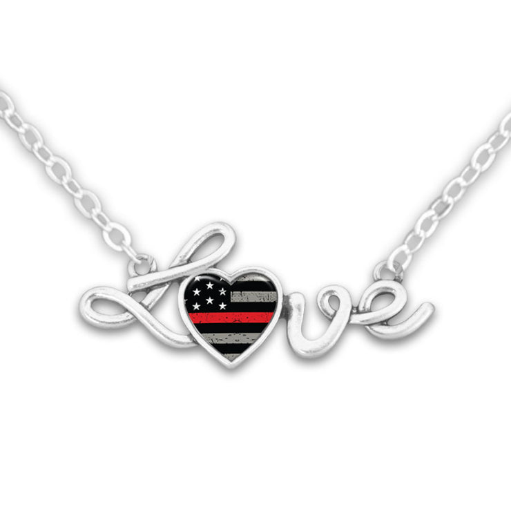 Thin Red Line Flag Love Necklace
