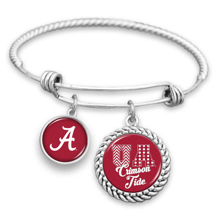 Alabama Crimson Tide Patterned Letters Charm Bracelet