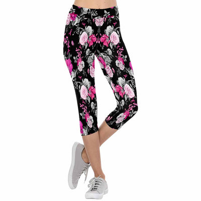 Pink Floral Breast Cancer Awareness Ribbons 3/4 Capri Leggings