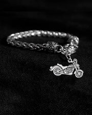 Crystal Motorcycle Silver Braided Clasp Bracelet