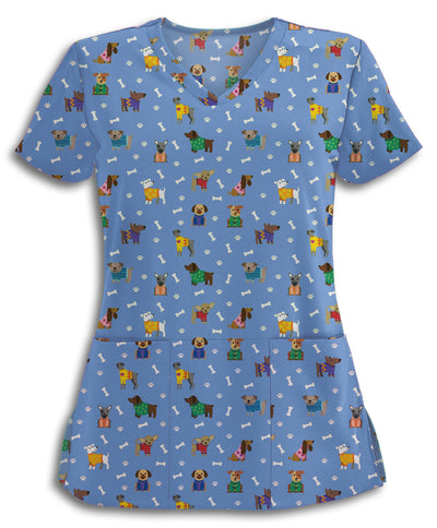 Cozy Dogs Blue Scrub Top