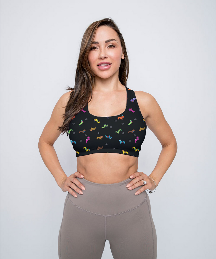 Colorful Hipster Dachshunds Sports Bra