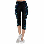 Black & Blue Horse Side Stripe 3/4 Capri Leggings