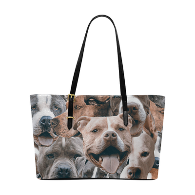 Pitbulls on Pitbulls on Pitbulls Leather Tote Bag