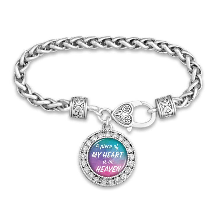 A Piece Of My Heart Is In Heaven Watercolor Silver Braided Clasp Bracelet