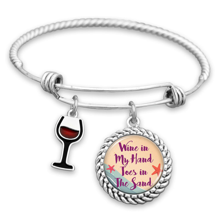 Wine In My Hand, Toes In The Sand Charm Bracelet