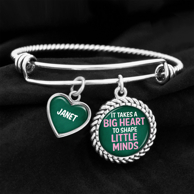 Customizable Big Heart Little Minds Teacher Charm Bracelet