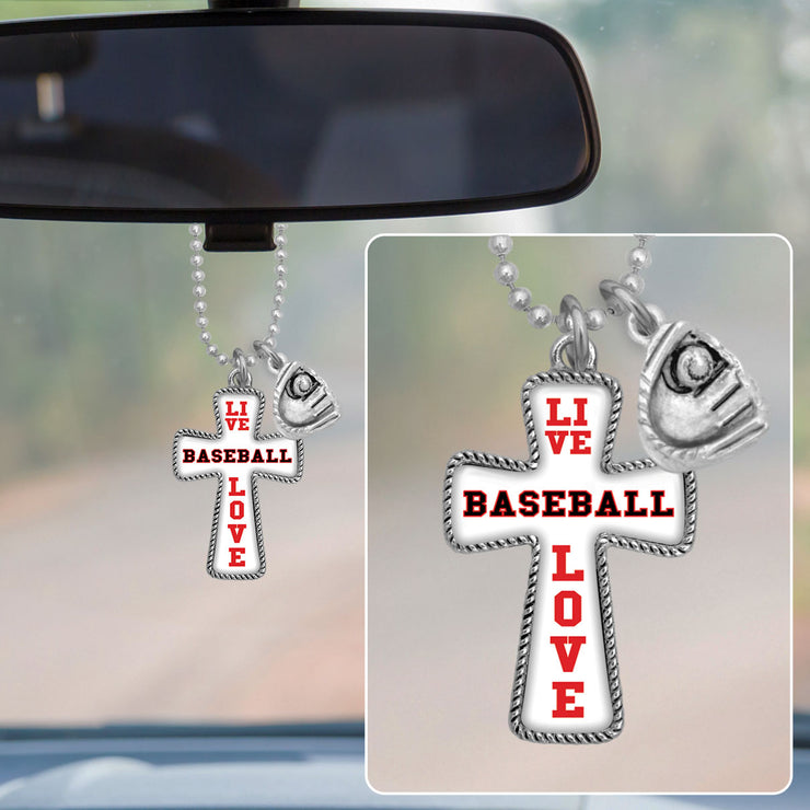 Live Love Baseball Cross Rearview Mirror Charm