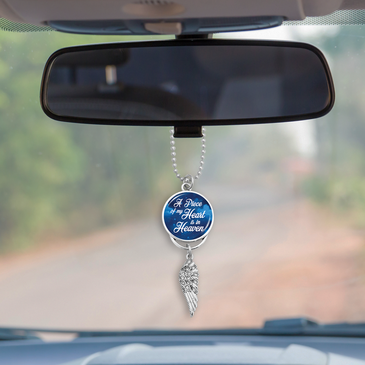 A Piece Of My Heart Is In Heaven Starry Sky Crystal Wing Rearview Mirror Charm