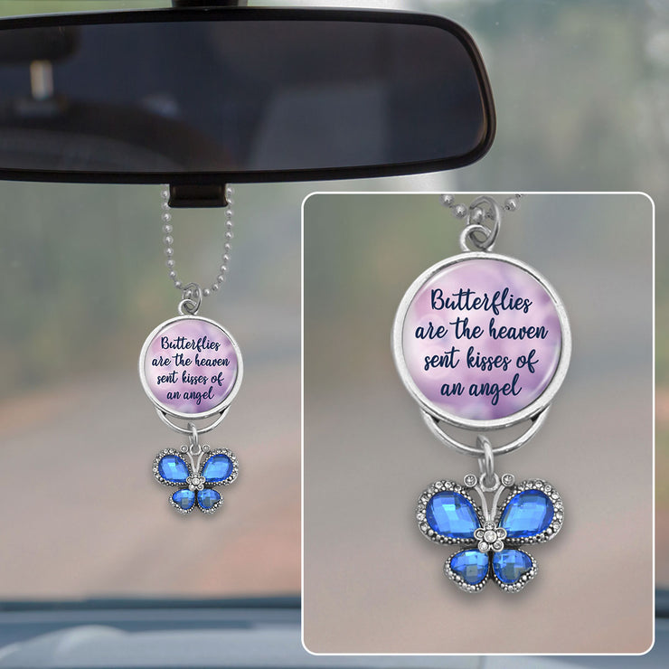 Butterflies Are The Heaven Sent Kisses Of An Angel Crystal Butterfly Rearview Mirror Charm
