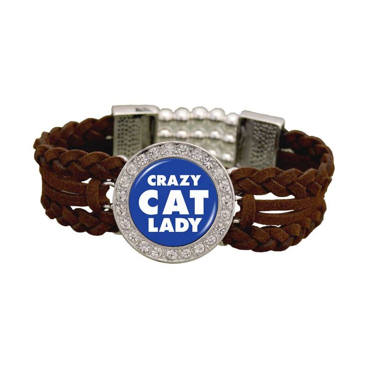Crazy Cat Lady Braided Leather Bracelet