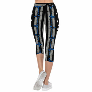Blue EKG Line Flag 3/4 Capri Leggings