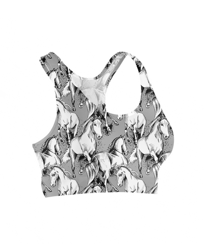 Grey Thunder Horses Sports Bra