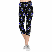 Thin Blue Line Hearts 3/4 Capri Leggings
