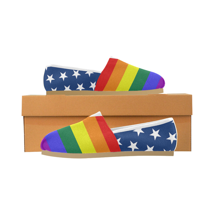 Rainbow Stripes & Stars Canvas Shoes
