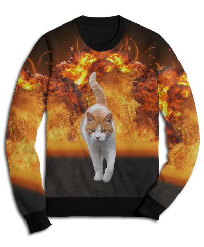 Badass Cat Doesn't Look At Explosions Fleece Sweatshirt