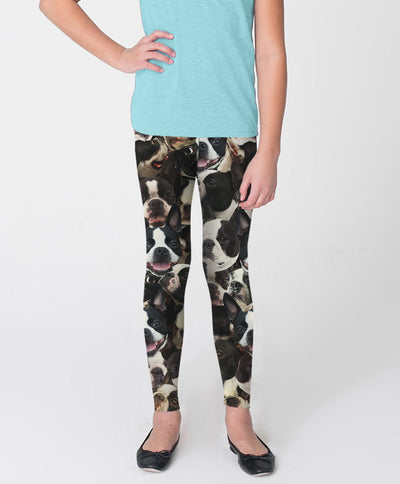Boston Terriers on Terriers on Terriers Youth Leggings