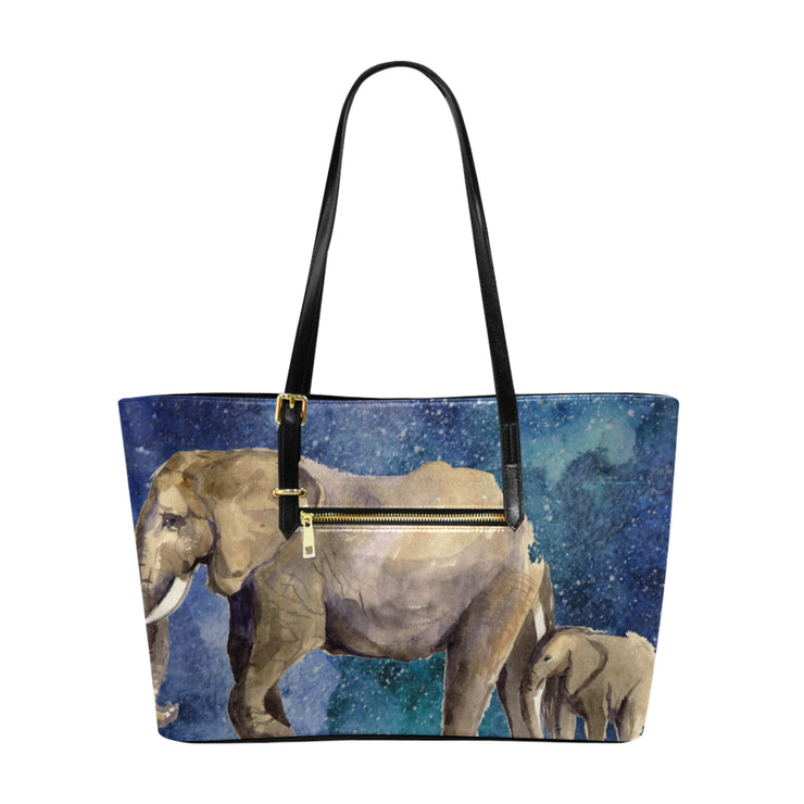Painted Elephants Leather Tote Bag
