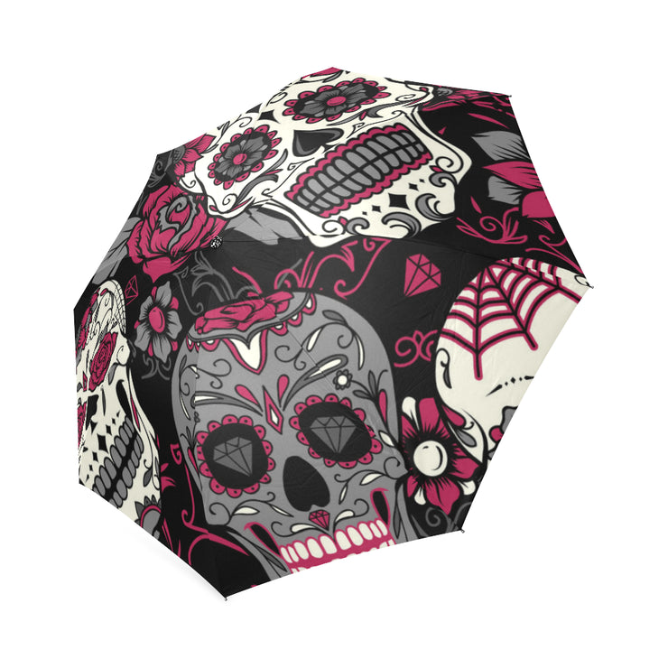 Pink & Grey Sugar Skulls Foldable Umbrella
