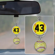 Softball Personalized Number Rearview Mirror Charm