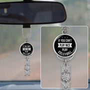 If You Can't Play Nice, Play Volleyball Crystal Rearview Mirror Charm