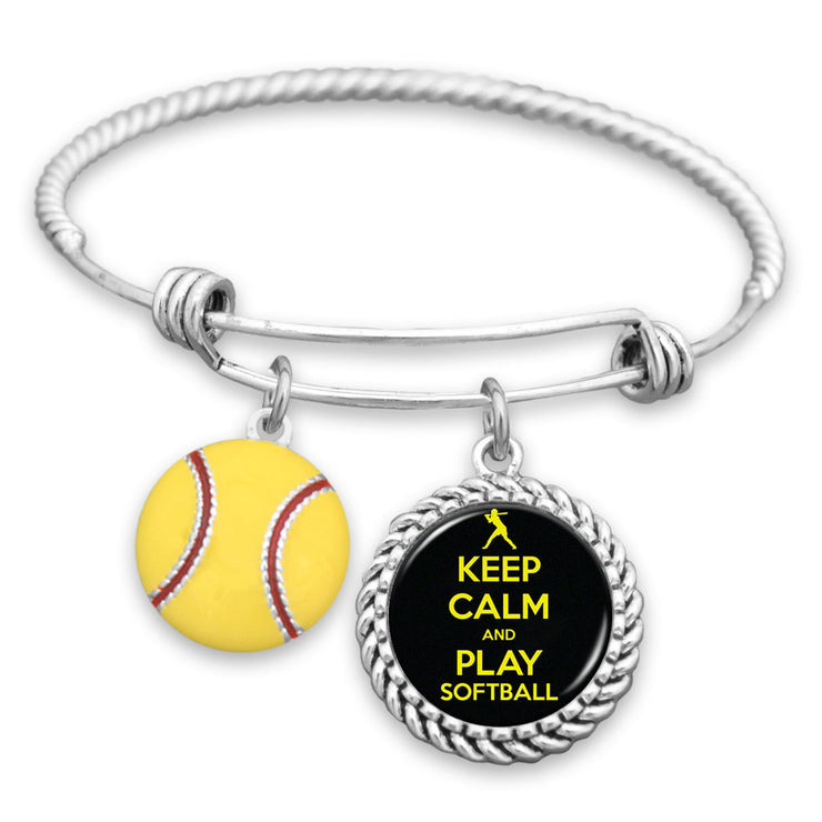 Keep Calm And Play Softball Charm Bracelet