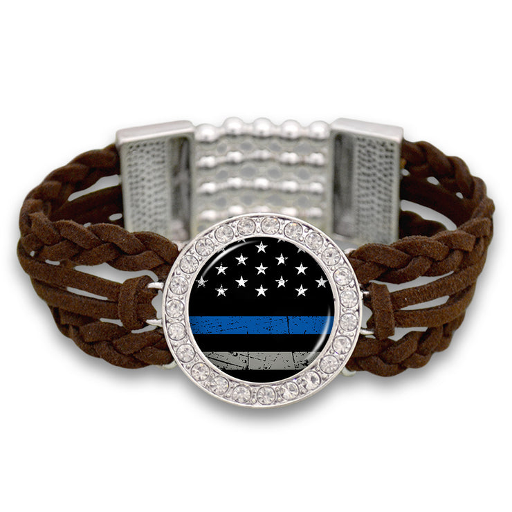 Thin Blue Line Outdoors Suede Stretch Bracelet