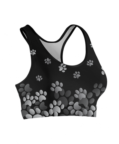 Grey Flying Paw Prints Sports Bra
