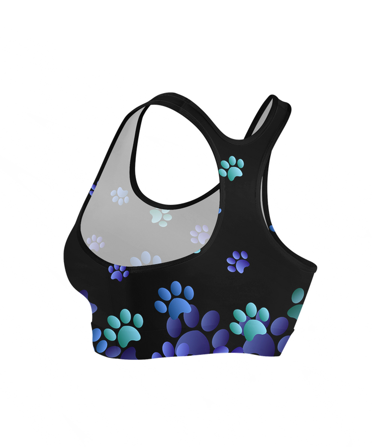 Cool Flying Blue Paws Sports Bra